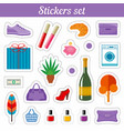 stickers set cartoon patch badges vector image