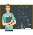 Student at blackboard vector image