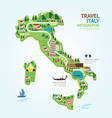 Infographic travel and landmark italy map shape vector image