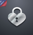 Lock in the shape of heart icon symbol 3D style vector image