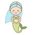 Cute kawaii mermaid character in cartoon style vector image
