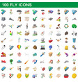 100 fly icons set cartoon style vector image