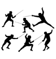 Fencing Silhouette vector image vector image