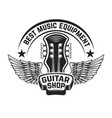 guitar shop label template guitar head with wings vector image