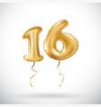 golden number 16 sixteen metallic balloon party vector image