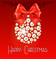 Happy Christmas lettering with pearls and bow vector image