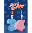 Happy birthday card with 24th birthday vector image