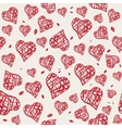seamless pattern with hand drawn red hearts vector image vector image