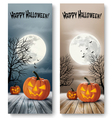 Holiday Halloween Banners with Pumpkins and Moon vector image vector image