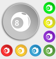 Billiards icon sign Symbol on eight flat buttons vector image