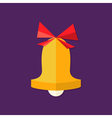 Christmas Bell with Bow Flat Icon vector image