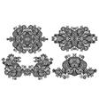 four ornamental floral adornment vector image
