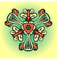 Stylized flower in orange and green color vector image