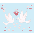 Two pigeons lovely flying in sky vector image