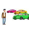 Used cars reselling concept with hands holding vector image