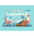 Waiting at airport of departure vector image