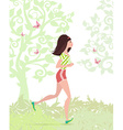 Young woman jogging in the park vector image