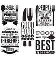 set of vintage typographic food quotes for menu or vector image