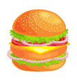 tasty burger grilled beef and fresh vegetables vector image