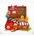 tropical holidays summer vacation open suitcase vector image vector image