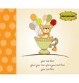 baby shower card with cute teddy bear vector image