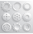 Gear wheels icon set Nine 3d gears on a gray vector image