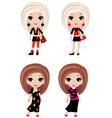four girls cartoon vector image