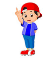boy raising point finger vector image