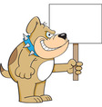 Cartoon Bulldog Holding a Sign vector image