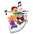 cartoon kids and piano vector image