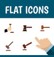Flat icon hammer set of law tribunal defense and vector image