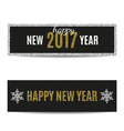 Happy New Year 2017 banners golden text and silver vector image