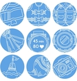 Round blue icons for diving vector image