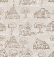 Seamless pattern with many houses and trees Hand vector image