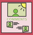 self photo concept comments on the photo posting vector image