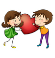 Couple holding a heart vector image vector image