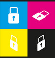 lock sign   white icon with vector image