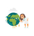 doctor girl listens to earth planet lungs vector image