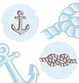 Vintage marine symbols icon set vector image