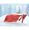 Santa Claus is a big bag of gifts vector image