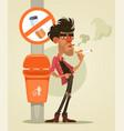 bad man character smoking under sign smoke vector image