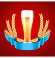 Brewery Label with light beer glass and malt vector image