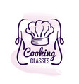 cooking logo design with watercolor decor - vector image