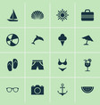 season icons set collection of sunny forceps vector image
