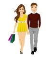 happy girl with shopping bags and her boyfriend vector image