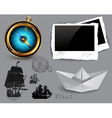 marine theme icons set vector image