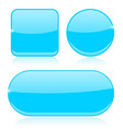 blue buttons round square and oval shiny icons vector image