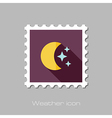 Moon and stars flat stamp Meteorology Weather vector image