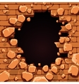 Red brick wall hole vector image