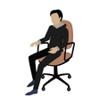 Man Sitting on the Chair and Listening Attentively vector image